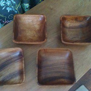 Set of Four Wooden Salad Bowls Vintage